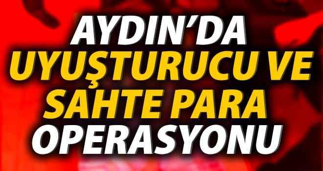 Aydın'da uyuşturucu ve sahte para operasyonu