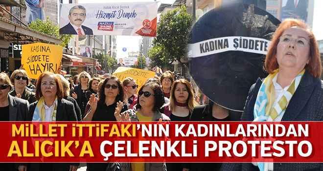 Millet İttifakı'nın kadınlarından Alıcık'a çelenkli protesto