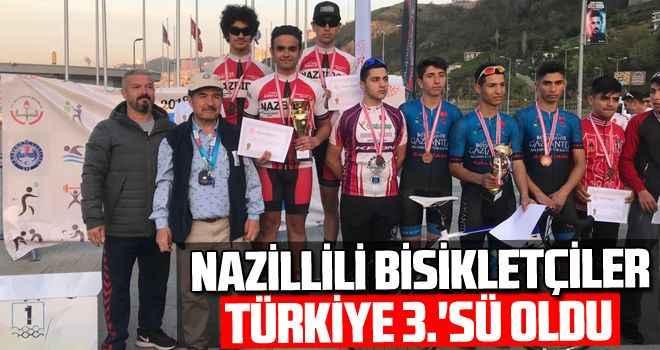 Nazillili bisikletçiler Türkiye 3.'sü oldu