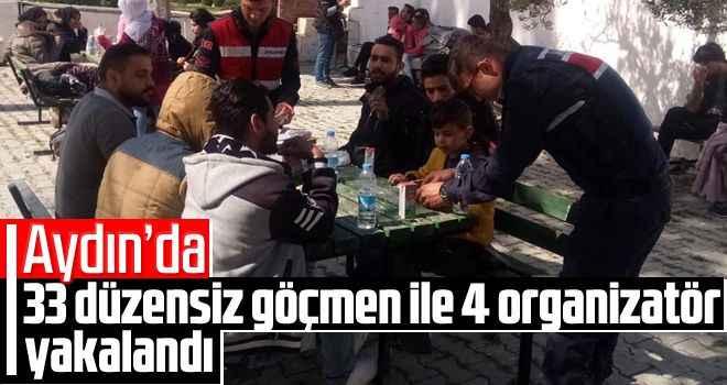 Aydın'da 33 düzensiz göçmen ile 4 organizatör yakalandı