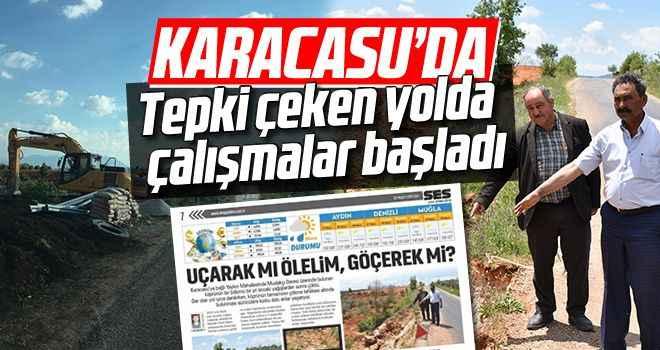 Karacasu'da tepki çeken yolda çalışmalar başladı
