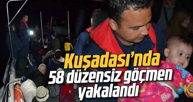 Kuşadası'nda 58 düzensiz göçmen yakalandı