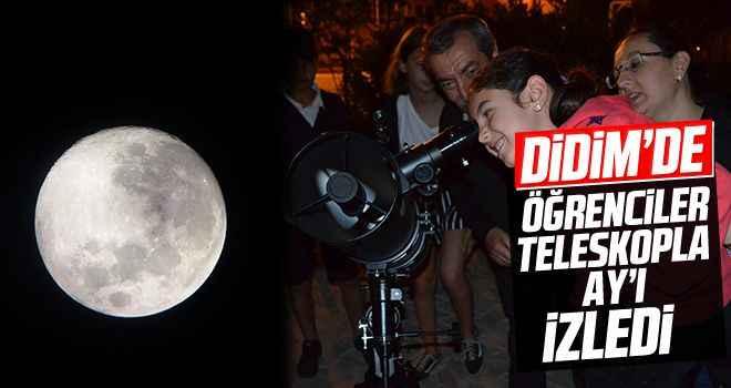 Didimli öğrenciler teleskopla Ay'ı inceledi