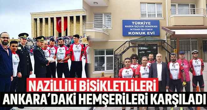 Nazillili bisikletlileri Ankara'daki Aydınlılar karşıladı
