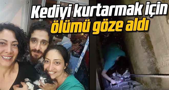 Kediyi kurtarmak için ölümü göze aldı