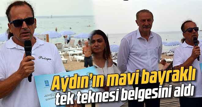 Aydın'ın mavi bayraklı tek teknesi belgesini aldı