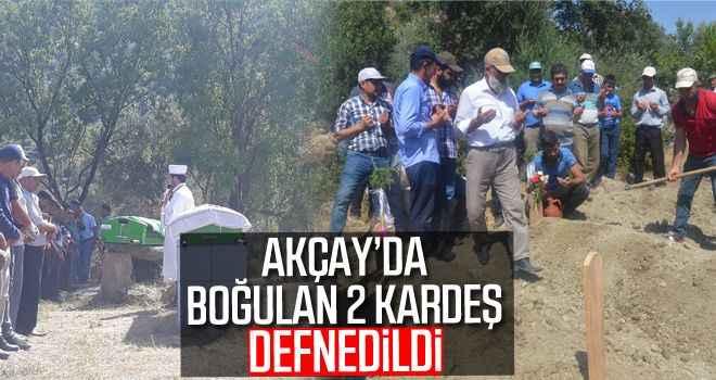 Akçay'da boğulan 2 kardeş defnedildi