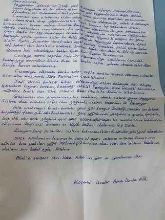 Mehmetçik'ten Koçarlı'ya teşekkür