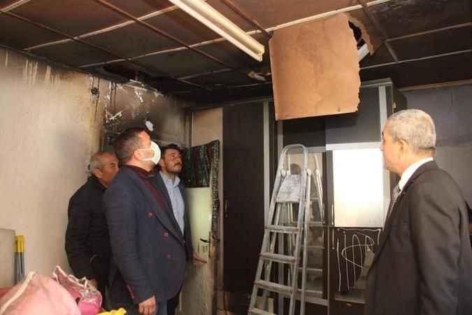Başkan Kaplan'dan evi yanan aileye yardım