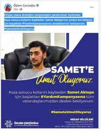 Başkan Çerçioğlu'dan Samet'e destek çağrısı