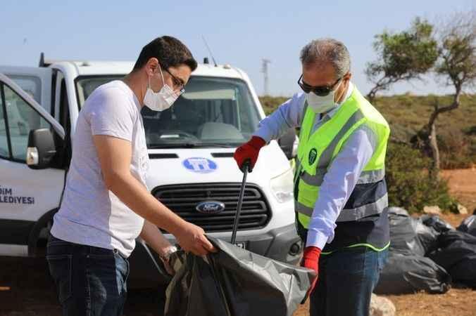 Didim'de deniz çöpleri izleme projesi temizliği