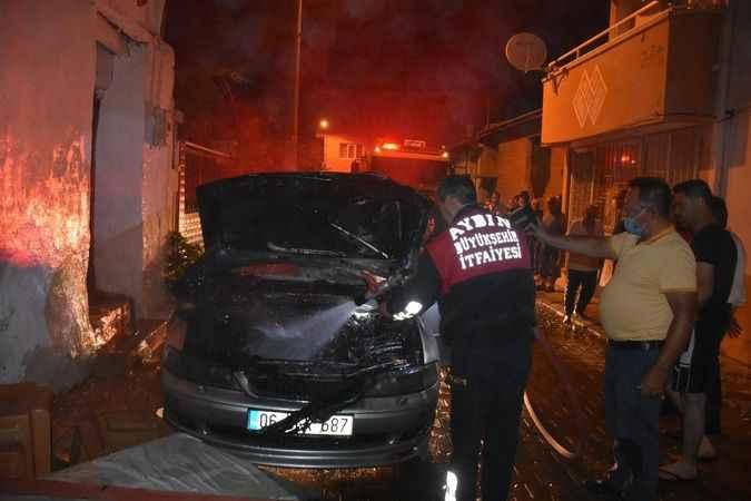 Düğün evinde korkutan otomobil yangını