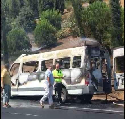 Aydın-İzmir otobanında araç yangını