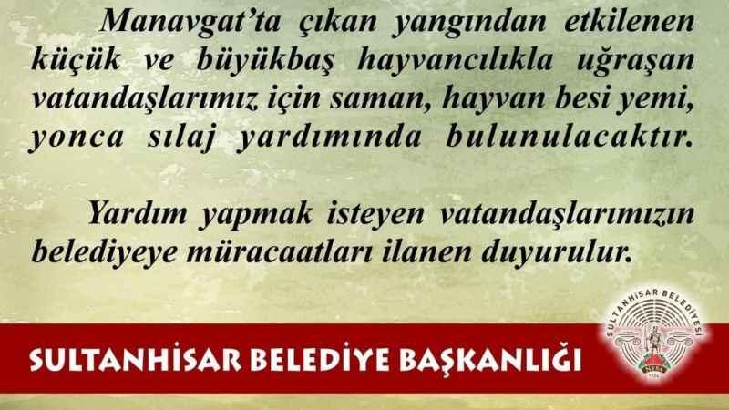 Sultanhisar Belediyesi'nden Manavgat'a yardım eli