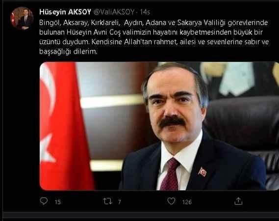 Vali Aksoy'dan Coş için başsağlığı mesajı