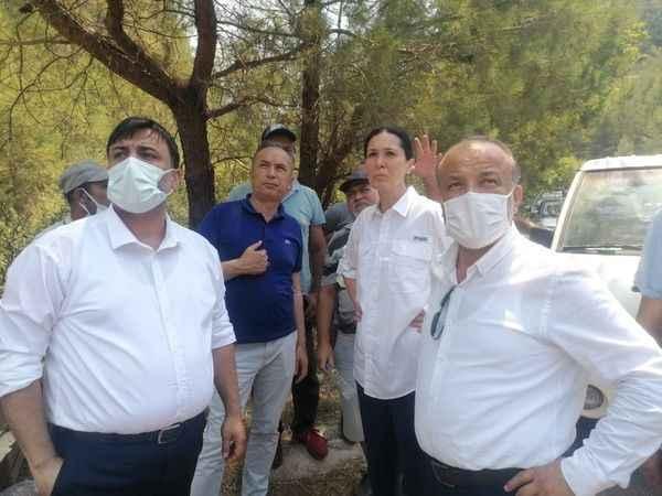 Yavuz, Marmaris'te yangın söndürme çalışmalarını yerinde takip etti