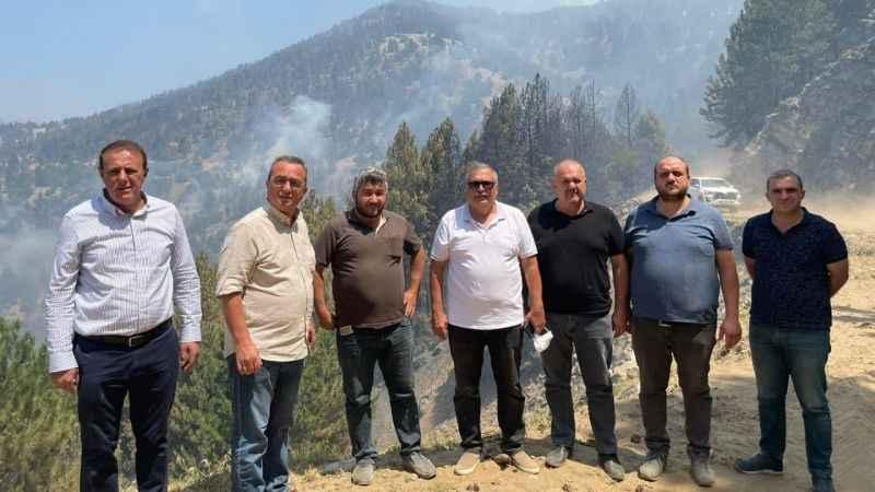 CHP'li vekiller, Bozdoğan'da yangın bölgesinde