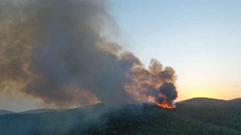 Kıyıkışlacık'ta yangın devam ediyor