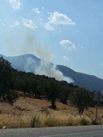 Karacasu'da farklı bir nokta da yangın çıktı