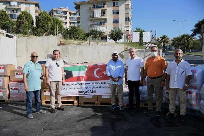 Kuşadası'nda dost Kuveytlilerden sel bölgesine yardım eli