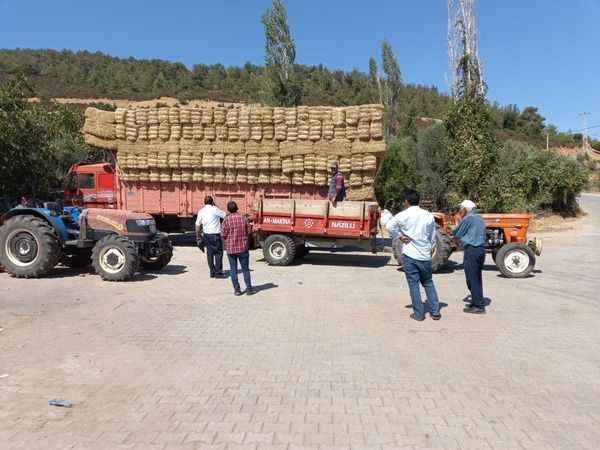 Konya'dan Karacasu yangın bölgesine 15 ton saman geldi