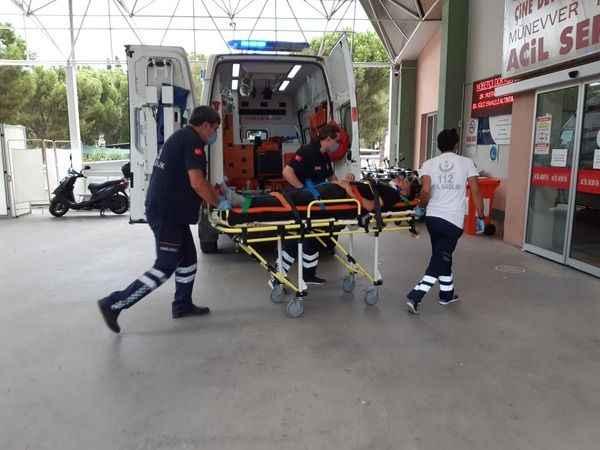 Aydın'da devrilen motosikletin sürücüsü yaralandı