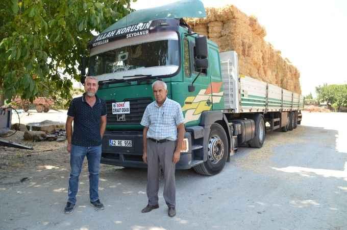 Sökeli üreticilerden Manavgat'a saman yardımı