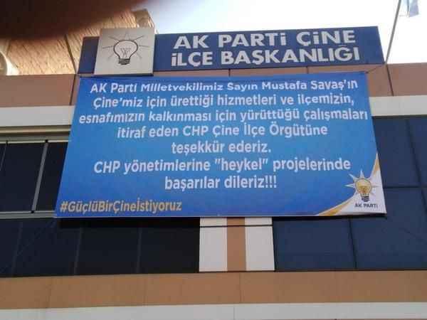AK Parti Çine'den CHP'ye pankartlı cevap