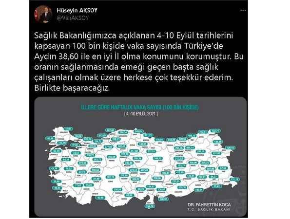Vali Aksoy'dan sağlık çalışanlarına teşekkür