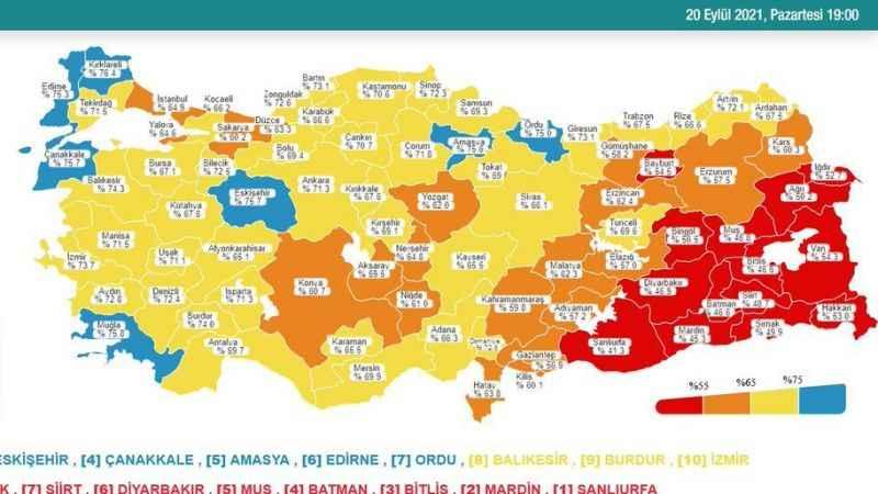 Aydın aşı haritasında maviden sarıya döndü