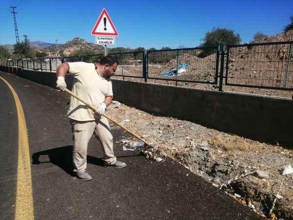 Nazilli Belediyesi'nden 10 kilometrelik alanda temizlik