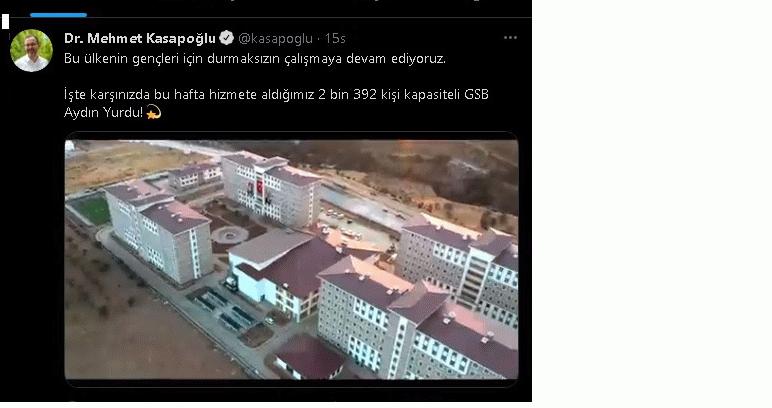Bakan Kasapoğlu'ndan Aydın'daki kız öğrenci yurdu paylaşımı