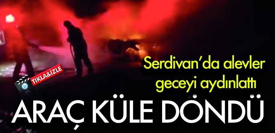 Serdivan'da alevler geceyi aydınlattı