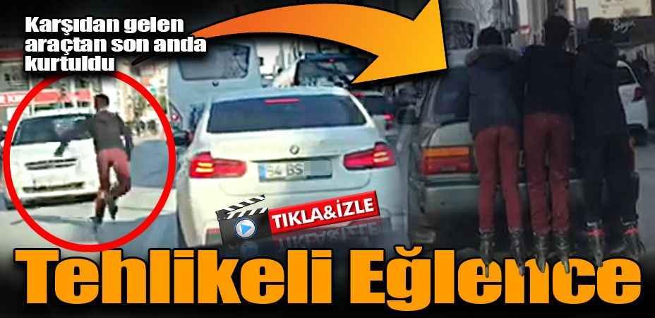 Patenli gençlerin trafikte tehlikeli eğlencesi kamerada