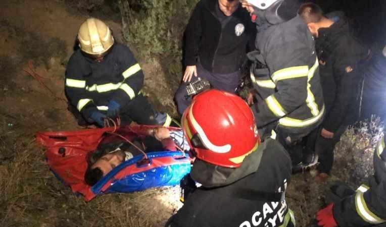 50 metre yükseklikten şarampole yuvarlandı: 2 yaralı