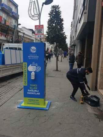 Sakarya'da sokaklara dezenfektan otomatları konuldu