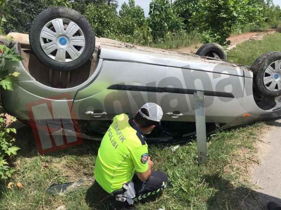 Karasu Yolu'nda kaza! Otomobil takla attı