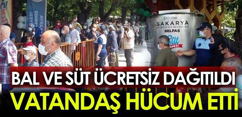 Sakarya'da vatandaşlara bal ve süt dağıtıldı