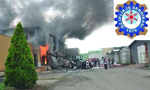 Öz İplik İş'ten yanan fabrikaya geçmiş olsun mesajı