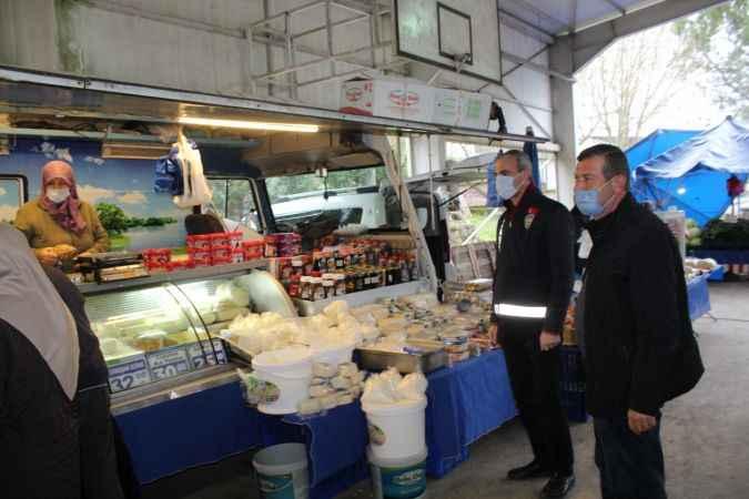 Söğütlü halk pazarında Kovid-19 denetimi yapıldı