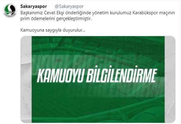 Sakaryaspor'da Turgutluspor maçı öncesi prim dopingi!