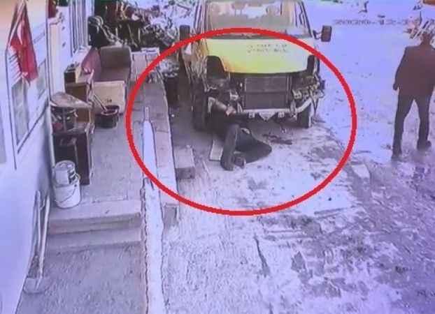 Tamir etmek istediği kamyonet çalışınca böyle can verdi