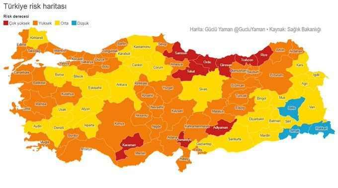 Normalleşmede Sakarya kaçıncı sırada?  İşte Sağlık Bakanlığı verilerine göre Türkiye'nin risk haritası!
