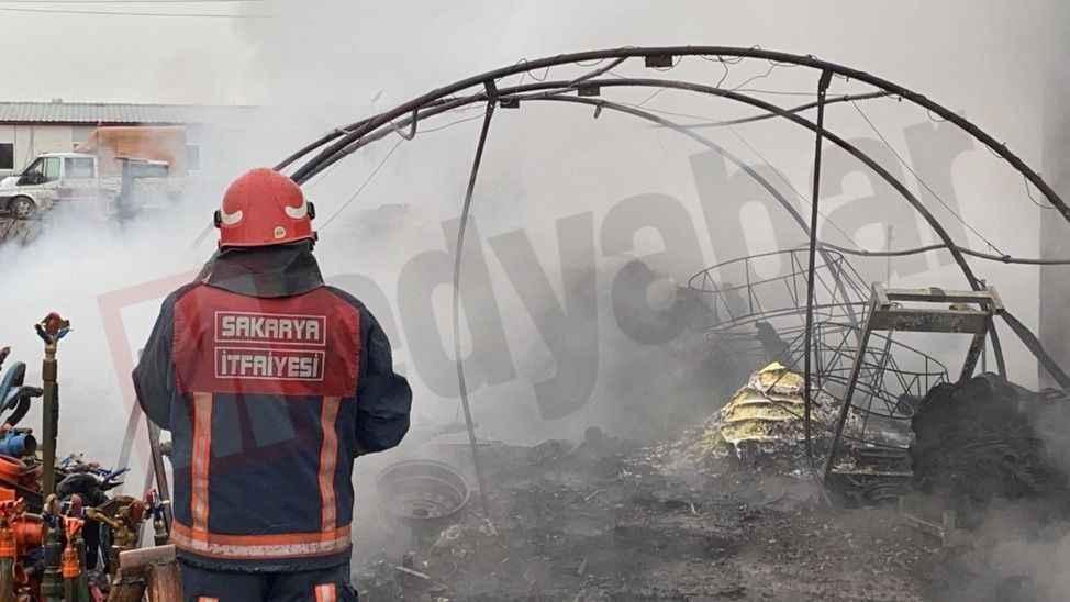 Arifiye'de fidan deposunda yangın