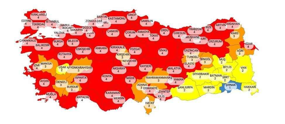 Yeni risk haritası açıklandı: Hangi il ne renk oldu?