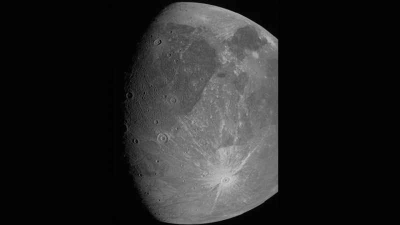 NASA'nın Jüpiter keşif aracı Juno, gezegenin uydusu Ganymede'i fotoğrafladı