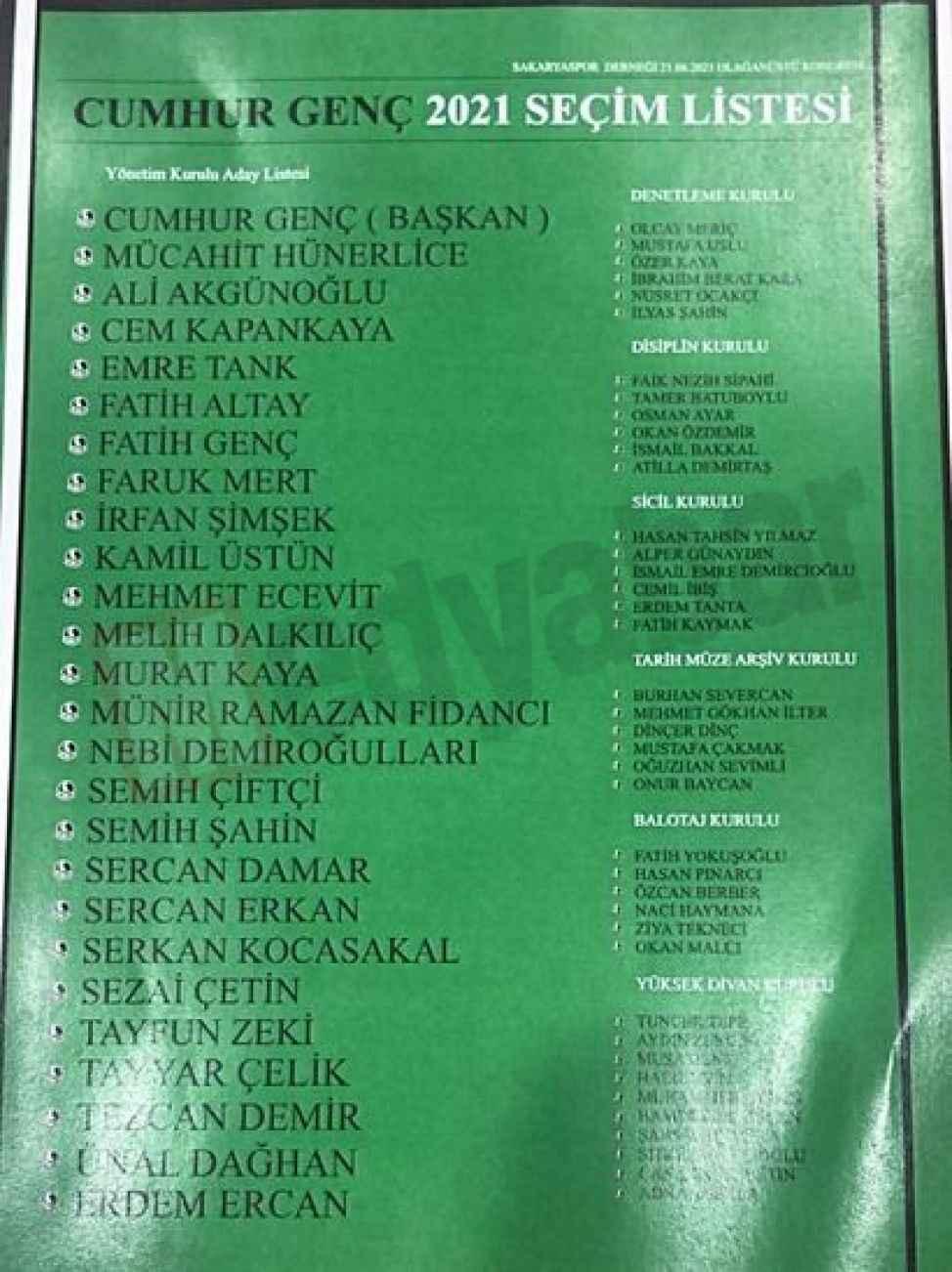 SAKARYASPOR KONGRESİ (1) İşte Cumhur Genç'in yönetim listesi
