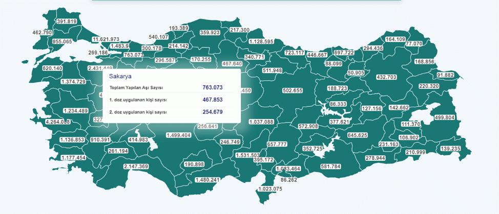 İşte Sakarya'nın aşı tablosu...763 bin 73 kişi aşılandı