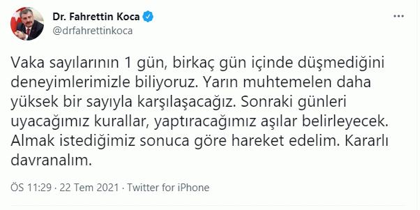 Fahrettin Koca'dan gece yarısı korkutan açıklama