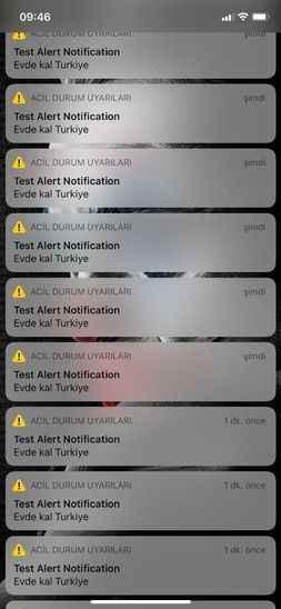 Bir çok kullanıcı ne olduğunu anlamadı! Test Alert Notification Evde Kal Türkiye uyarısı